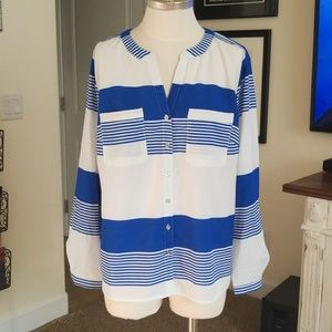 Notations blue and white striped shirt L EUC